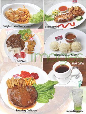 Aneka menu makan dan minuman d'Java Steak