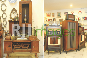 Buffet jengki jadul dan Radio & speaker set bergaya retro