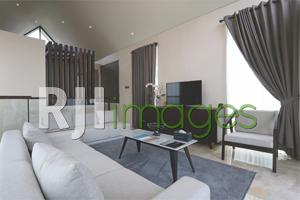 Furnitur minimalis modern dalam living room bernuansa monochrome