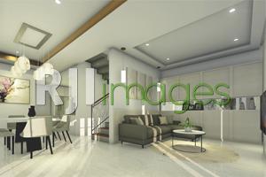 Interior Ruang Keluarga yang Menyatu dengan Ruang Makan dan Dapur