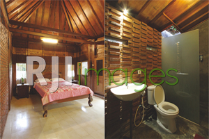 King size bed di guesthouse bungalow Bathroom