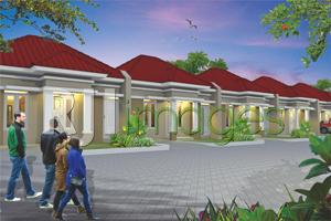 Perspektif deretan hunian Hinggil Mansion Residence, yang berlokasi di Bangen, B