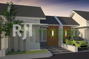 Perspektif rumah tipe 33, cluster villa tropical, Bukit Tentrem Triwidadi