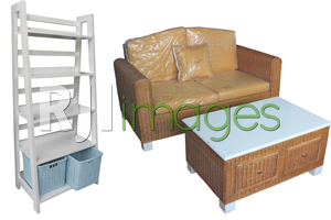 Rak Kombinasi Minimalis & Sofa Tamu Set Rotan