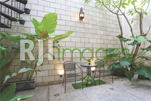 Area backyard dengan unsur hijau & batu alam bernuansa alami