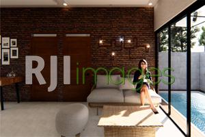 Ruang tamu dengan gaya arsitektur industrial